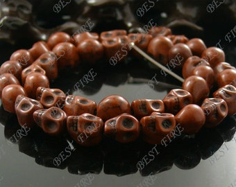 8x10mm Dyed Brown Skeleton Turquoise Skull stone beads  Loose Strand,gemstone bead,loose bead 15.5INCH