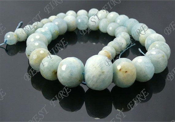 10-20mm Faceted Naturals Aquamarine rondelle beads loose strand