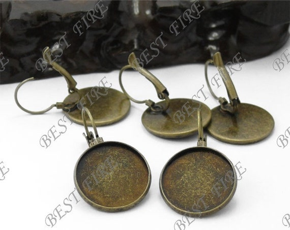 50pcs Antique Solid Brass French Earwires Hook With Round 18mm Pad