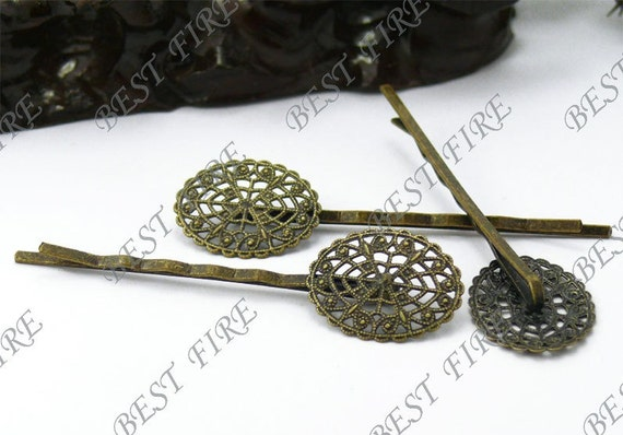 10pcs of Antique Bronze bobby pins Oval filigree pad 63 mm