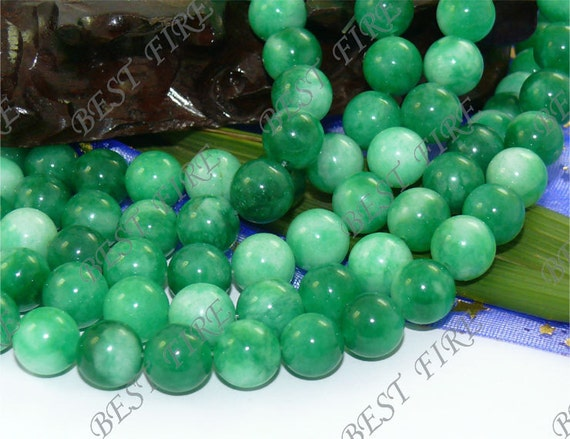 10mm Green Jade  Round beads Gemstone Loose  strand 15.5 IN