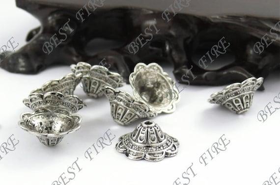 12 pcs of tibetan silver filigree big bead cups 8x18mm