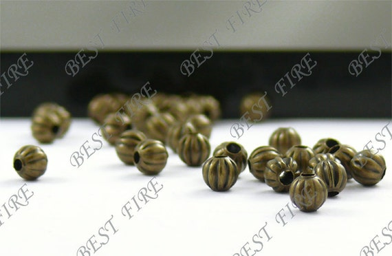 50PCS 5MM Antique Bronze stripe pumpkin beads