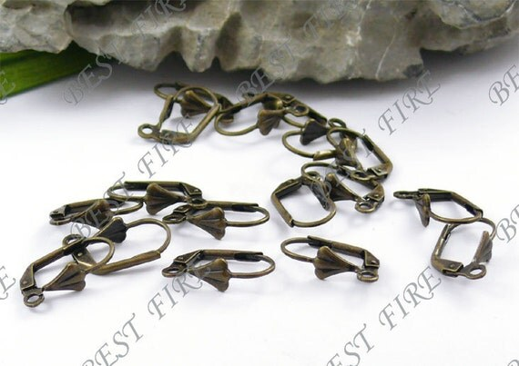 100 pcs of Antiqued brass leverback earwire with shell 9X16mm