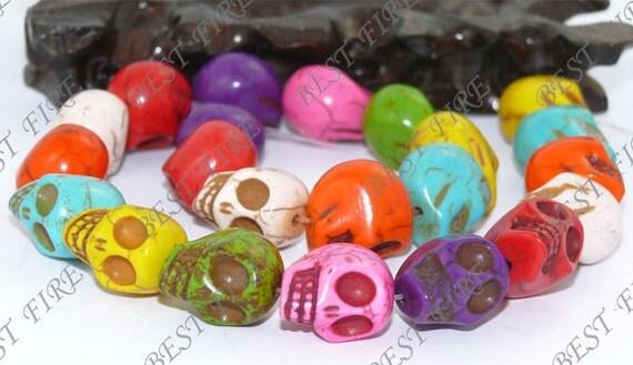 Carved Skeleton Rainbow Dyed Mixd Turquoise Skull stone Beads 17mm full  strand