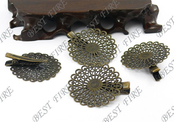 6 pcs of New style Antique Bronze bobby pins flower  filigree round pad