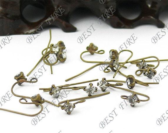 20pcs of  Antiqued brass A grade azorite  fish Hook Earwire