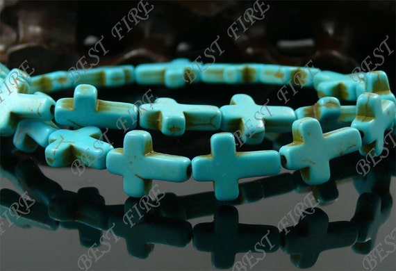 12x16mm Cross Turquoise beads Loose Strand,Gemstone beads,Loose beads full strands 15.5 inch
