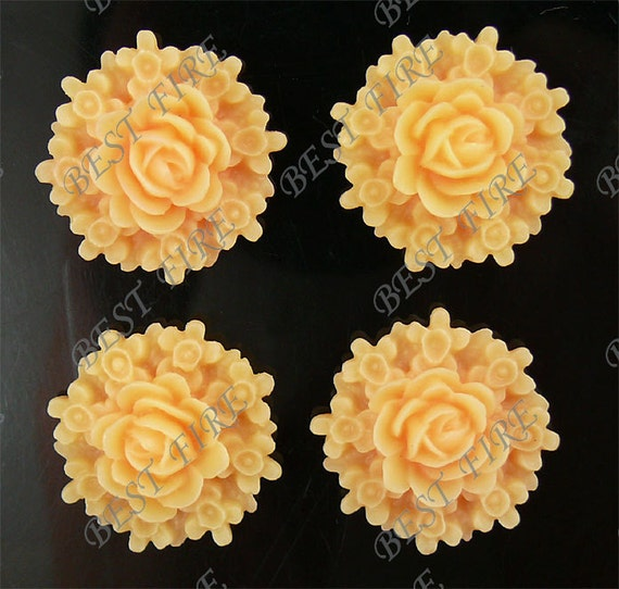 6 pcs of pink Beautiful  flower cabochons(base 24mm),Loose beads,resin cabochons bead,plastic flower loose bead