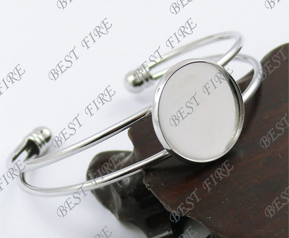 5pcs of platinum tone Open  Adjustable bracelet Base round blank pad Cabochon size 20mm,bangle findings