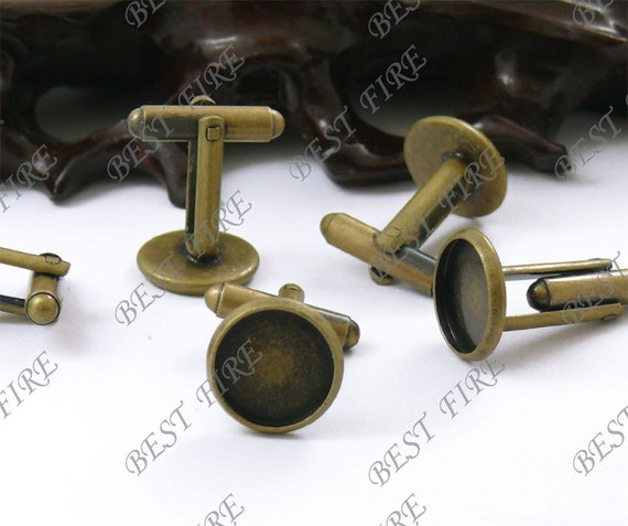 12pcs Antique Brass Pad  Round sleeve button Base (Cabochon Size:12mm),Blank button Findings