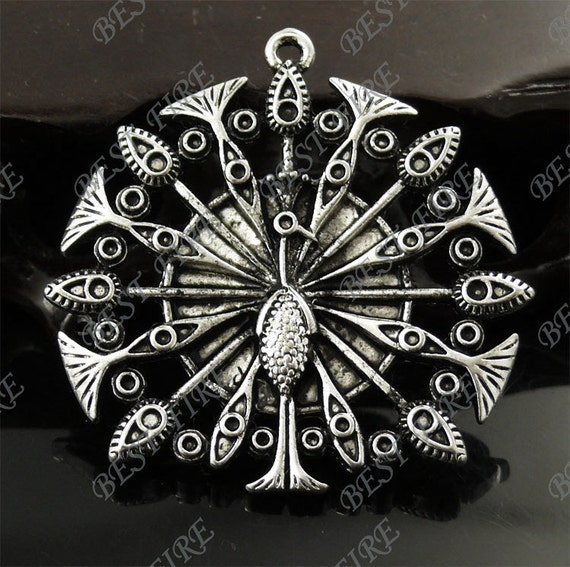 4PCS Of  46x47MM Antique silver alloy solid Peacock Train Charm Pendant,metal finding,pendant bead