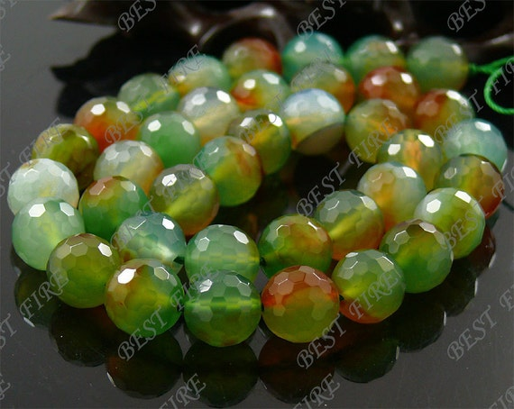 10mm of Yellow Green Faceted Round Agate beads loose strands,gemstone loose bead strand,semi-precious stone bead