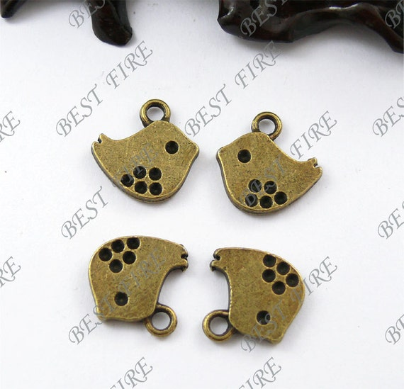 24PCS Of  12x16MM  Antique Bronze Lovely Bird Charm Pendant and spacer,metal finding,pendant and spacer beads