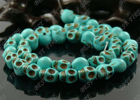 8x10mm Turquoise  Skeleton Turquoise Skull stone beads  Loose Strand,gemstone bead,loose bead 15.5INCH