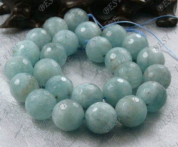 16mm of  Natural Aquamarine Round Faceted beads loose strands,gemstone bead,loose Aquamarine stone bead 15.5 inch