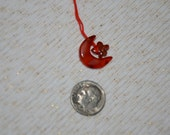 Carnelian Crescent Moon and Star Charm