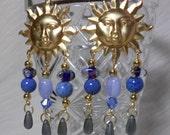 Gold Earrings Chandelier Earrings with Blue Beads