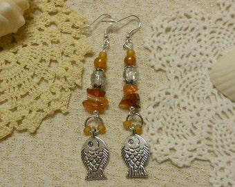 Carnelian Statement Earrings Goldfish for Summer