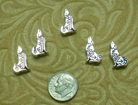 Howling Wolves Tibetan Silver Beads