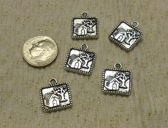 Silver Little House and Tree Charm
