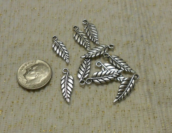 Silver Leaf or Feather Charms