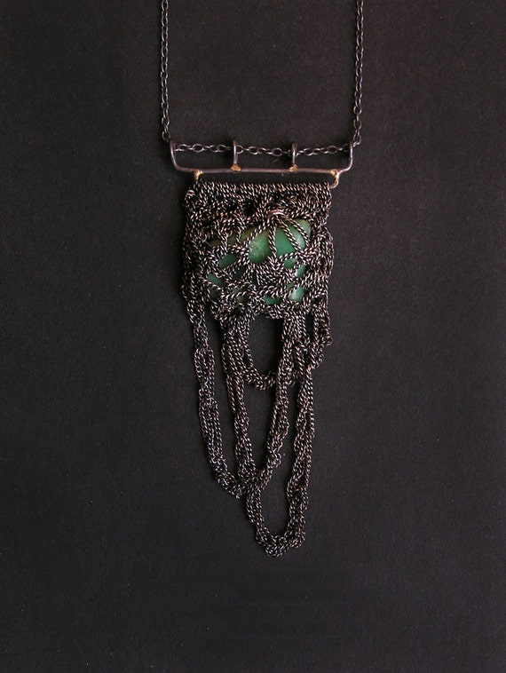 broken hearts Chrysoprase bionic collection hooks & silver crochet necklace