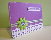 Happy day purple card with green flower