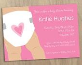 Baby Girl Pink Diaper Illustrated Baby Shower Invitation - Diaper Shower - Printable Digital File
