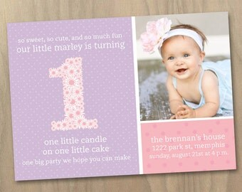 Baby Girl First (1st) Birthday Photo Invitation - Pink and Purple Polka Dots and Flowers - Custom Printable Digital File