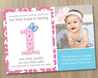 Baby Girl First (1st) Birthday Photo Invitation - Flowers and Butterfly Pink Purple Blue - Custom Printable Digital File