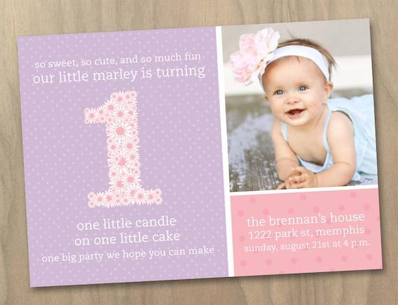 Baby Mädchen zunächst (1.) Geburtstag Einladung - Rosa und lila ...