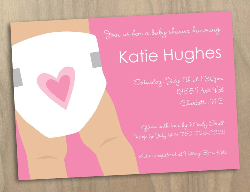 Baby Girl Pink Diaper Illustrated Baby Shower Invitation