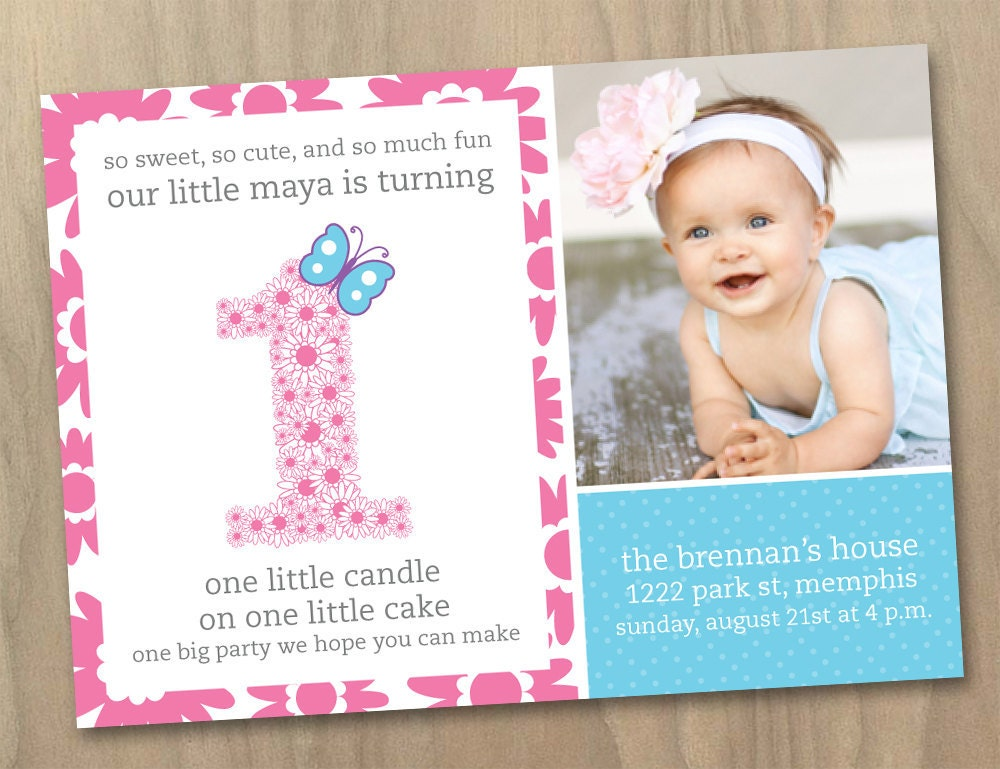 Baby Girl First St Birthday Photo Invitation Flowers And - 1st birthday invitations girl purple