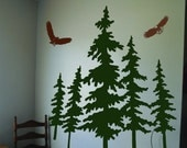 Vinyl Wall Decal Art Sticker with Pine Trees