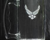 AIR FORCE, etched on a 25 oz. sports mug