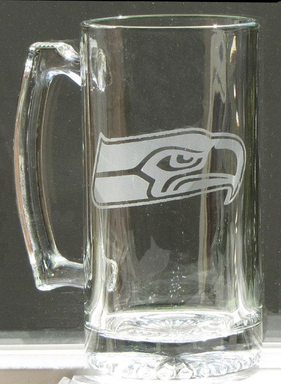 SEATTLE SEAHAWKS, etched on a 25 oz. Sports Mug