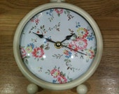 Cath Kidston Bleached Flowers print cream mantel clock