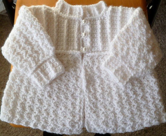 Stunning White Baby  Sweater, Hat and Booties, Perfect for Christening  / Baptismal