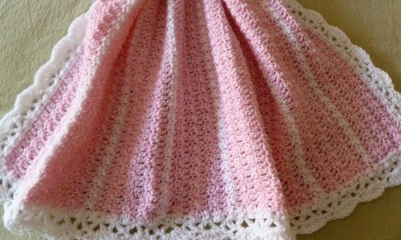 ON  SALE  , Pink Marble And White Baby Blanket
