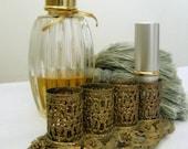 Vintage Vanity Lipstick Holder Goldtone Filigree Tray