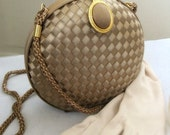 Vintage Purse Champagne Taupe Satin Evening Clutch