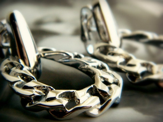 Vintage Silver Earrings - Silver Chain Hoops