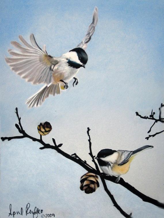 Items similar to Pastel Drawing Chickadees Bird Fine Art ... - photo#25