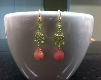 Pink jade, peridot briollete earrings