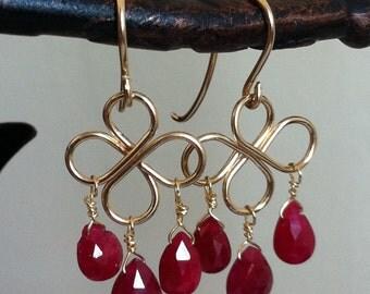 Ruby chandeleir 14 K gold filled earrings