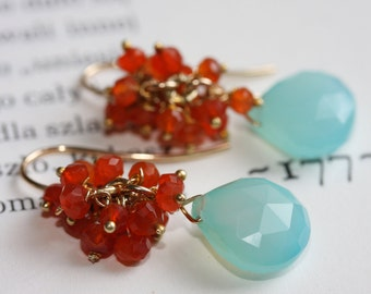 Aqua Chalcedony, carnelian earrings