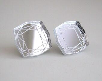 Mirror Princess Cut Stud Earrings Statement Diamond - Laser Cut Acrylic Perspex