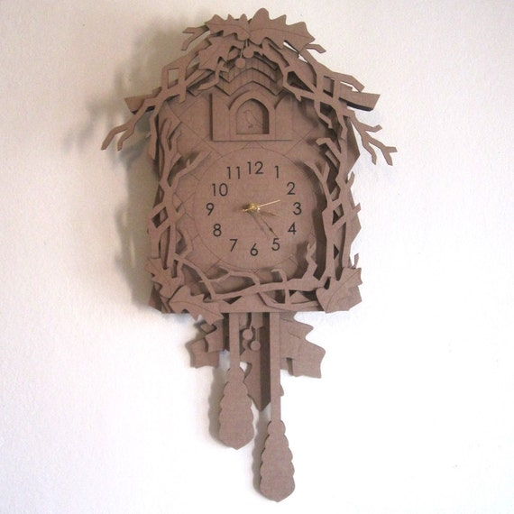 Eco cuckoo clock laser cut woodland forest cardboard by for Large cardboard cut out numbers