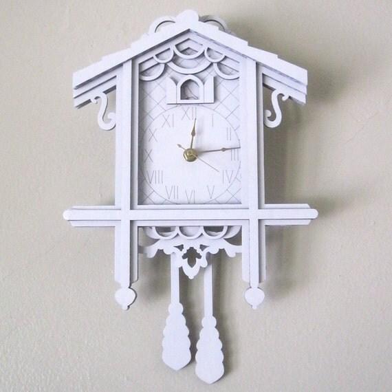 White Cuckoo Clock - Modern Laser Cut Cardboard Wall Decor